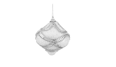 Northlight 3ct White Holographic Sequined and Silver Beaded Shatterproof Onion Christmas Ornaments 3