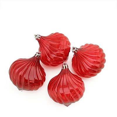Northlight 4ct Red Hot Transparent Onion Drop Shatterproof Christmas Ornaments 4.5
