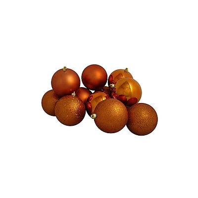 Northlight 12ct Burnt Orange Shatterproof 4-Finish Christmas Ball Ornaments 4