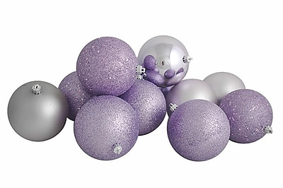 Northlight 12ct Lavender Shatterproof 4-Finish Christmas Ball Ornaments 4