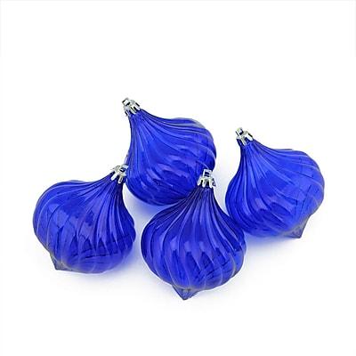 Northlight 4ct Lavish Blue Transparent Onion Drop Shatterproof Christmas Ornaments 4.5