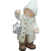 """Northlight 17.25"""" Winter Boy in White Holding a Tealight Lantern Christmas Table Top Figure (32275552)"""