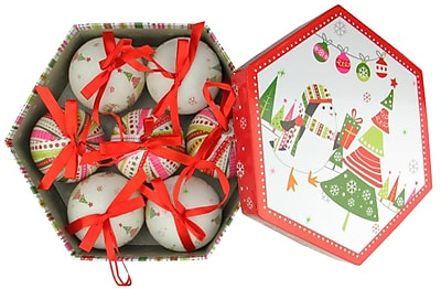 Northlight 7-Piece Whimsical Red White and Green Decoupage Shatterproof Christmas Ball Ornament Set 2.75