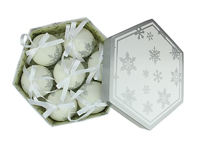Northlight 7-Piece White and Gray Decoupage Snowflake Shatterproof Christmas Ball Ornament Set 2.75