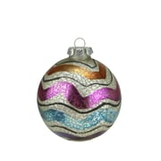 "A & B Floral 4.5"" Merry & Bright White Mercury Glass Striped Christmas Ball Ornament (31750704)"