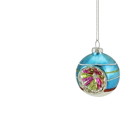 Northlight Blue Green and Red Glittered Witches Eye Glass Ball Ornament 2.75