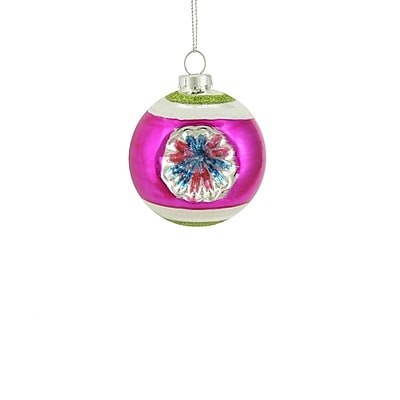 Northlight Fuchsia Green and Silver Glittered Witches Eye Glass Ball Ornament 2.75