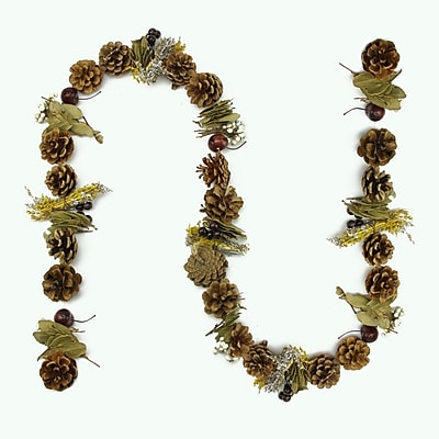 Northlight 5' Decorative Natural Pine Cone Twig Wheat and Berry Artificial Christmas Garland - Unlit (31748445)
