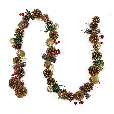 Northlight 5' Decorative Glittered Pine Cone Twig and Holly Berry Artificial Christmas Garland - Unlit (31741661)