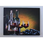 "Northlight LED Lighted Flickering Wine Grapes and Candles Canvas Wall Art 11.75"" x 15.75"" (32038673)"