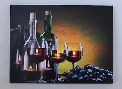 Northlight LED Lighted Flickering Wine Grapes and Candles Canvas Wall Art 11.75