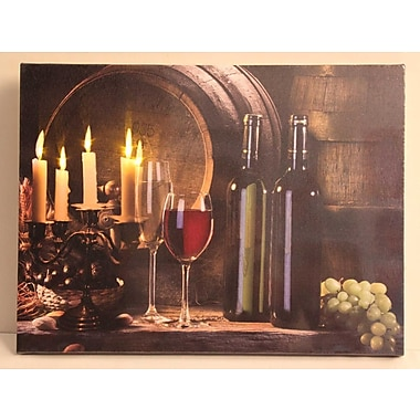 Northlight LED Lighted Flickering Candles and Wine Canvas Wall Art 11.75