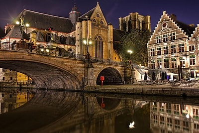 Northlight LED Lighted Famous St. Michael's Bridge and Church in Ghent Belgium Canvas Wall Art 15.75