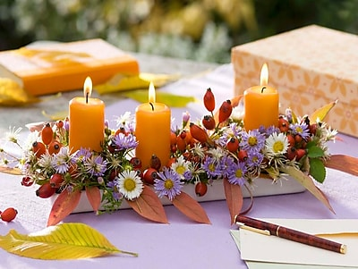 Northlight LED Lighted Floral and Berries Candle Centerpiece Canvas Wall Art 11.75