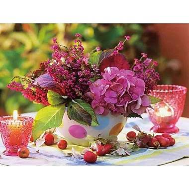 Northlight LED Lighted Candles and Pink Floral Arrangement with Berries Canvas Wall Art 11.75