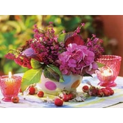 "Northlight LED Lighted Candles and Pink Floral Arrangement with Berries Canvas Wall Art 11.75"" x 15.75"" (32039273)"