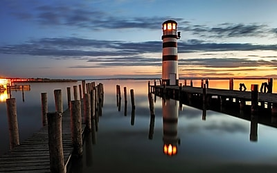 Northlight LED Lighted Coastal Sunset Lighthouse Scene Canvas Wall Art 15.75