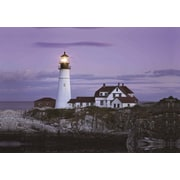 "Northlight LED Lighted Coastal Lighthouse Home with Purple Sunset Canvas Wall Art 15.75"" x 23.5"" (32021267)"