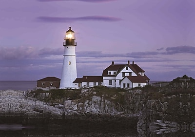 Northlight LED Lighted Coastal Lighthouse Home with Purple Sunset Canvas Wall Art 15.75