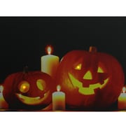 """Northlight LED Lighted Halloween Jack-o'-Lanterns with Candles Canvas Wall Art 15.75"""" x 19.5"""" (32255977)"""