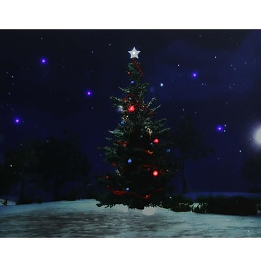 Northlight LED Lighted Decorated Christmas Tree at Night with Stars Canvas Wall Art 15.75