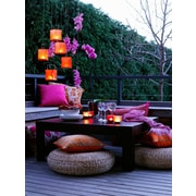 "Northlight LED Lighted Pink Orchid and Candle Lantern Patio Party Scene Canvas Wall Art 15.75"" x 11.75"" (32039545)"