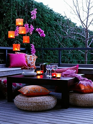 Northlight LED Lighted Pink Orchid and Candle Lantern Patio Party Scene Canvas Wall Art 15.75