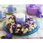 """Northlight LED Lighted Polka Dot Candle in a Hydrangea Candle Ring Canvas Wall Art 11.75"""" x 15.75"""" (32039267)"""
