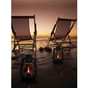 "Northlight LED Lighted Sunset Beach Relaxation with Lanterns Canvas Wall Art 15.75"" x 11.75"" (32039533)"