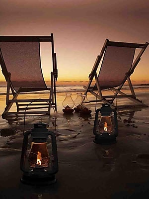 Northlight LED Lighted Sunset Beach Relaxation with Lanterns Canvas Wall Art 15.75