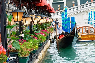 Northlight LED Lighted Floral Shop with Gondola Ride Canvas Wall Art 11.75
