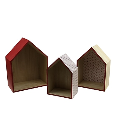 Kaemingk Set of 3 Basic Luxury Shadow Boxes with Rose Red Accents 11.5 - 15.5