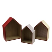 """Kaemingk Set of 3 Basic Luxury Shadow Boxes with Rose Red Accents 11.5 - 15.5"""" (31536628)"""
