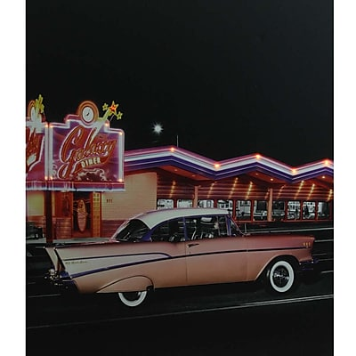 Northlight LED Lighted Coral Pink 1957 Chevy Bel Air in Front of a Diner Canvas Wall Art 23.5