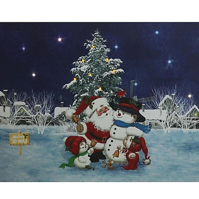 Northlight LED Lighted Santa Claus with Snowmen and Christmas Tree Canvas Wall Art 15.75