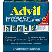 Advil Ibuprofen Pain Reliever, 200mg, 2/Packet, 50 Packets/Box (15489)