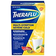 Theraflu Multi-Symptom Relief Hot Liquid Powder, 4 Hours, Green Tea/Honey Lemon, 6/Pack (64260603)