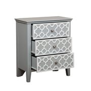 "Right2Home Grey Quatrefoil Overlay Drawer Chest 27""L x 14""W x 31""H (DS-A092005)"