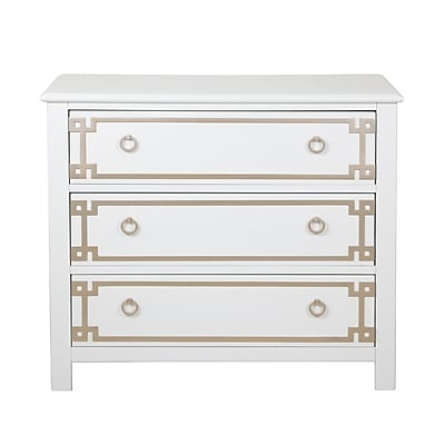 Right2Home Metallic Overlay White Drawer Chest 34