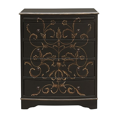 Right2Home Black Hand Painted Curved Front Drawer Chest 26