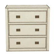 "Right2Home Chester Ivory Faux Leather Wrapped Trunk Style Drawer Chest 32""L x 18""W x 33""H (DS-D047001-090)"