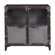 "Right2Home Distressed Metal & Glass Riveted Door Chest 31""L x 16""W x 31""H (DS-D051002)"