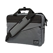 Manhattan Portage Second Avenue Fabric Water-Resistant Briefcase, Gray (1741-BL GRY)