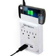 CJ Tech 00529 3 Outlet Wall Tap Dual USB 2.4 Amp 300 Joules with 1 Smart Phone holder