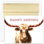 """Great Papers!® Holiday Greeting Cards, Peppermint Longhorn, 7.875"""" x 5.625"""", 18 Cards/18 Foil-Lined Envelopes (884700)"""