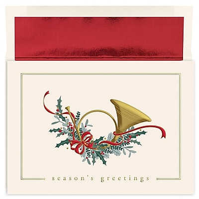 Great Papers!® Holiday Greeting Cards, French Horn, 7.875