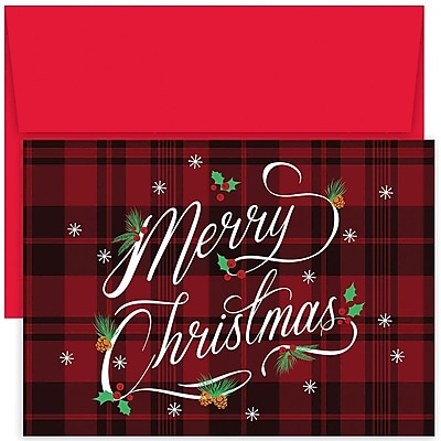 Great Papers!® Holiday Greeting Cards, Plaid Merry Christmas, 7.875