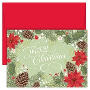 """Great Papers!®  Holiday Greeting Cards, Poinsettia & Pinecone Border, 7.875"""" x 5.625"""", 18 Cards/18 Envelopes (905200)"""