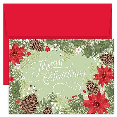 Great Papers!® Holiday Greeting Cards, Poinsettia & Pinecone Border, 7.875