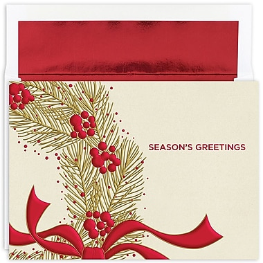 Great Papers!® Holiday Greeting Cards, Wreath With Berries, 7.875